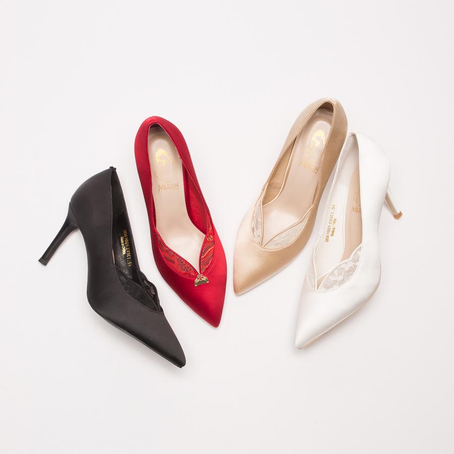 鞋,婚鞋,公主 婚鞋,GRACEGIFT,迪士尼公主系列婚鞋,迪士尼公主系列,迪士尼 公主系列 婚鞋,迪士尼 婚鞋,手工婚鞋,花木蘭高貴緞面V口跟鞋
