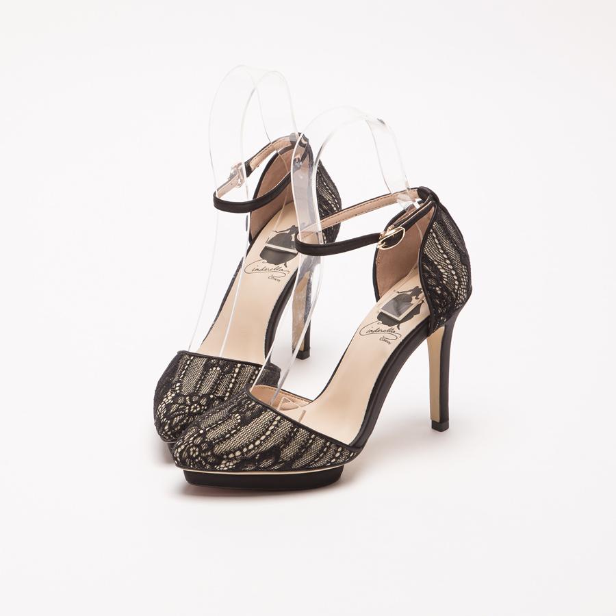 仙杜瑞拉蕾絲踝帶防水台跟鞋