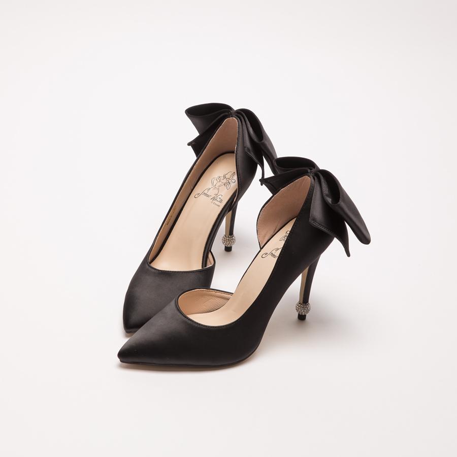 白雪公主浪漫蝴蝶結圓鑽跟鞋