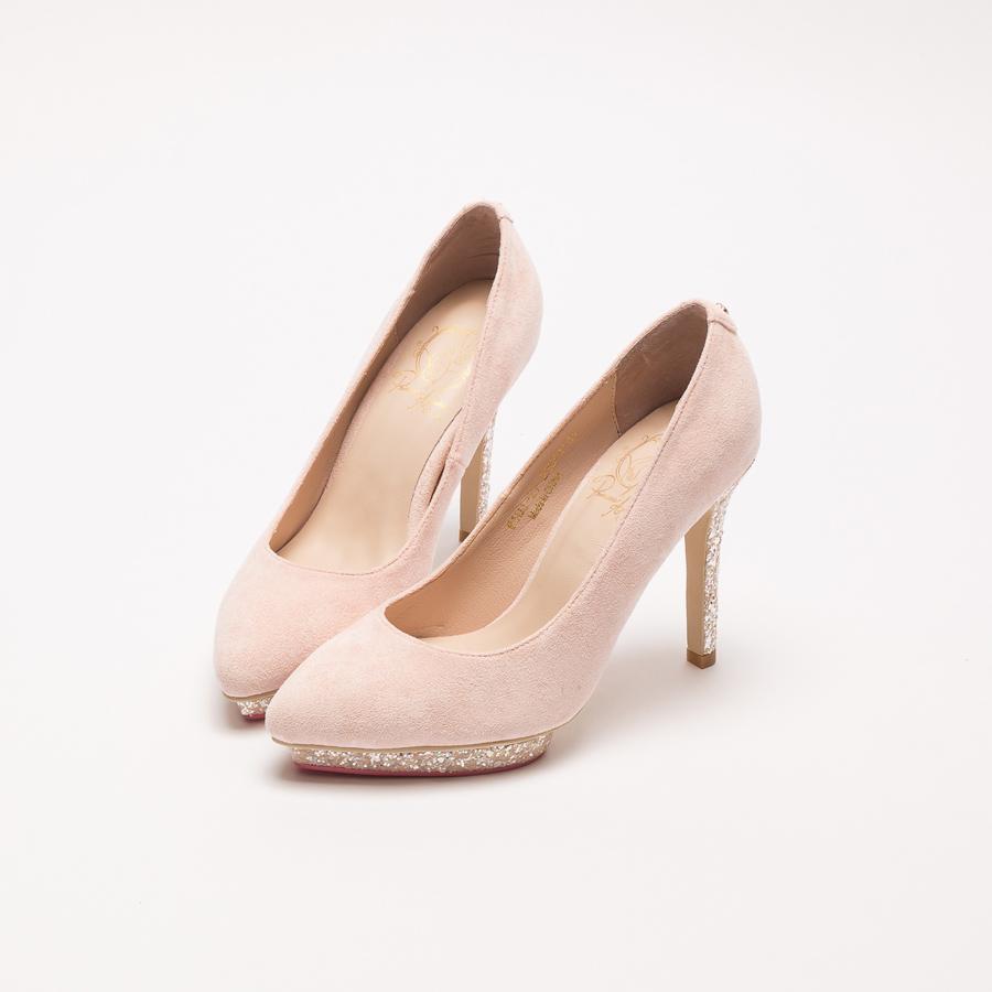 歐若拉公主優雅絨布防水台跟鞋