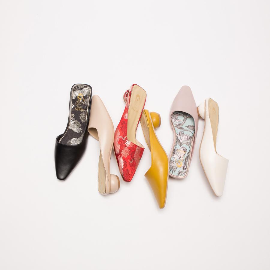 鞋,婚鞋,公主 婚鞋,GRACEGIFT,迪士尼公主系列婚鞋,迪士尼公主系列,迪士尼 公主系列 婚鞋,迪士尼 婚鞋,手工婚鞋,花木蘭經典微方頭穆勒圓跟跟鞋3cm
