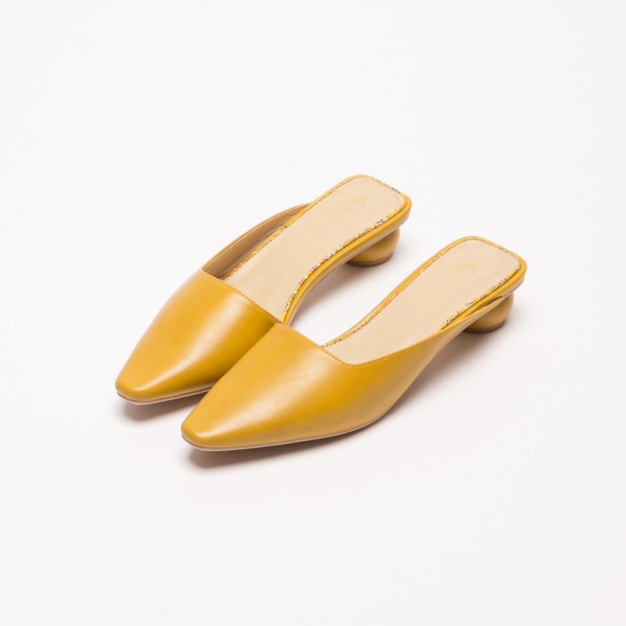 花木蘭經典微方頭穆勒圓跟鞋